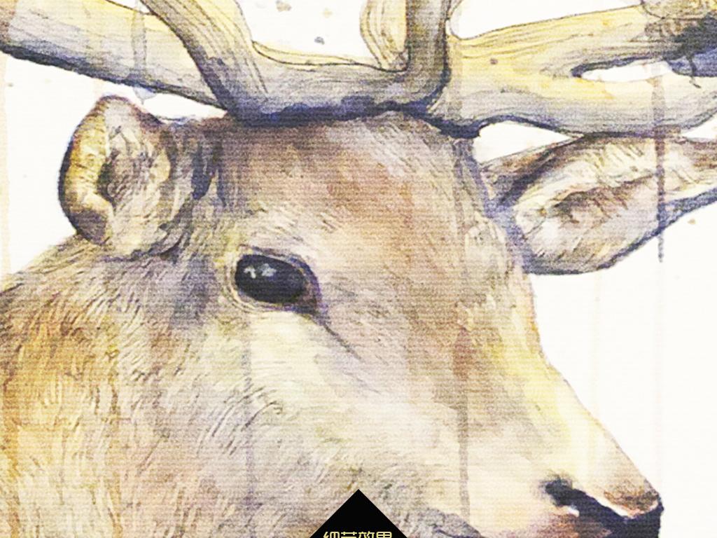 手绘鹿头北欧无框画