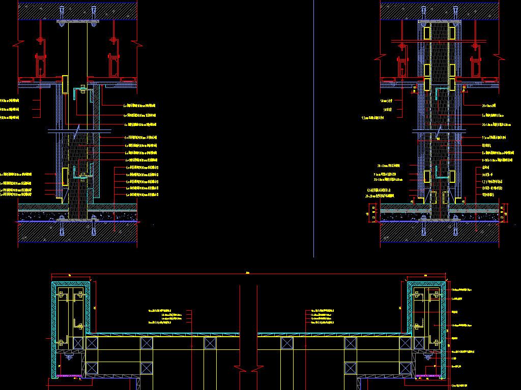 cad图库 室内设计cad图库 cad图纸 > 墙面隔断cad节点详图  版权图片