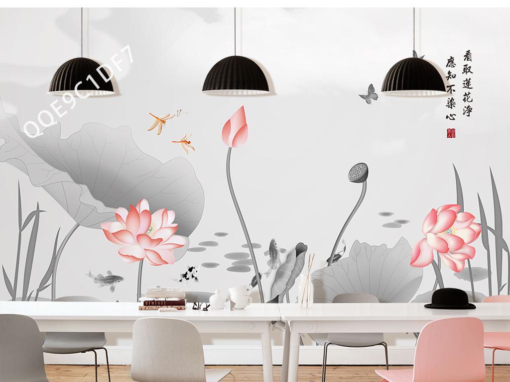新中式手绘青莲沙发电视背景墙