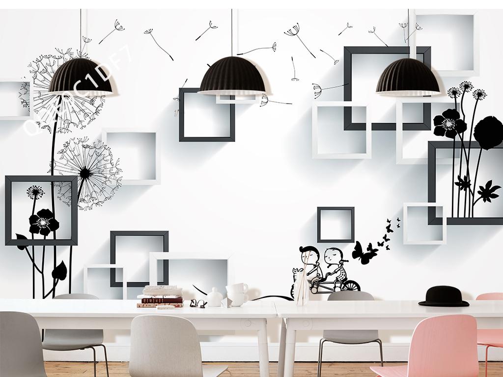 3d手绘抽象蒲公英电视背景墙