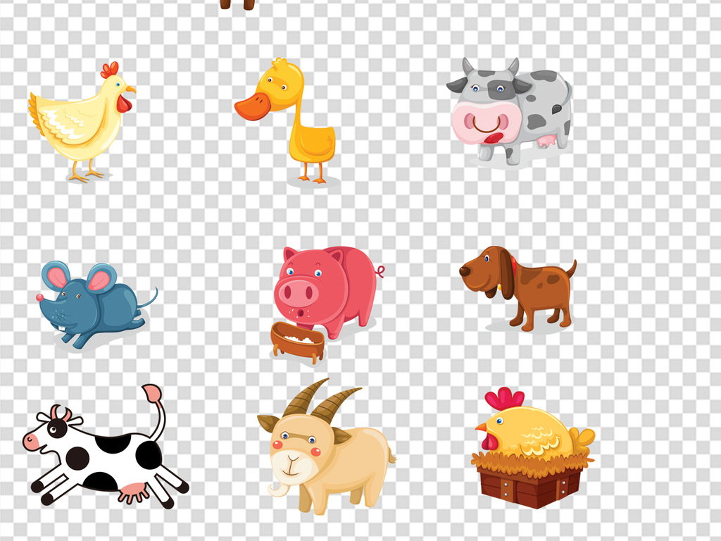 卡通小动物png素材图片