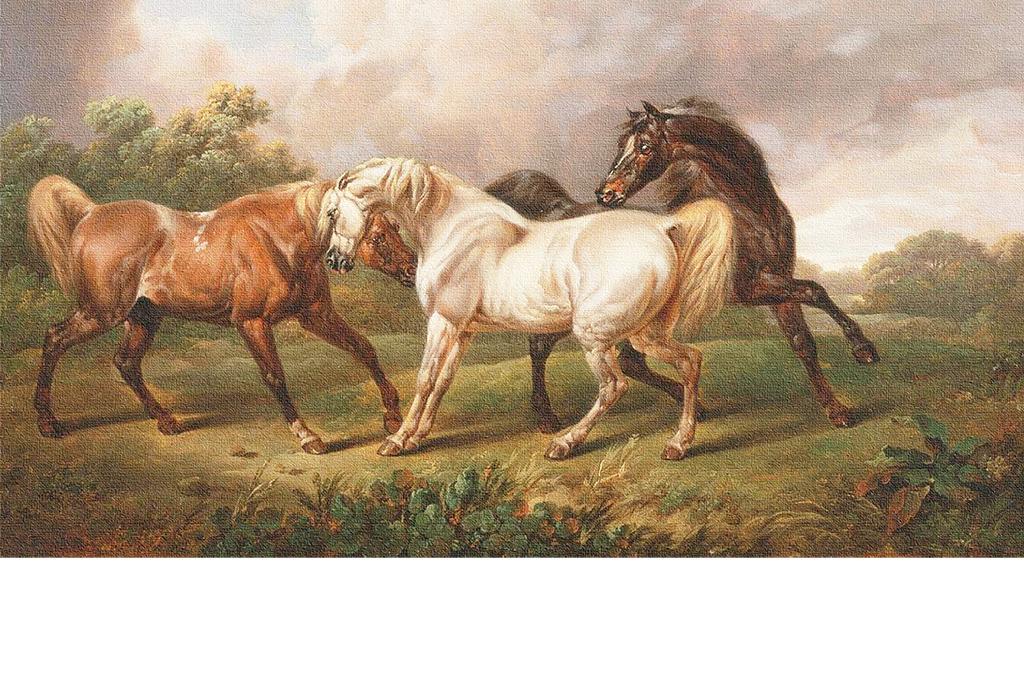 手绘复古千里马黑红白马