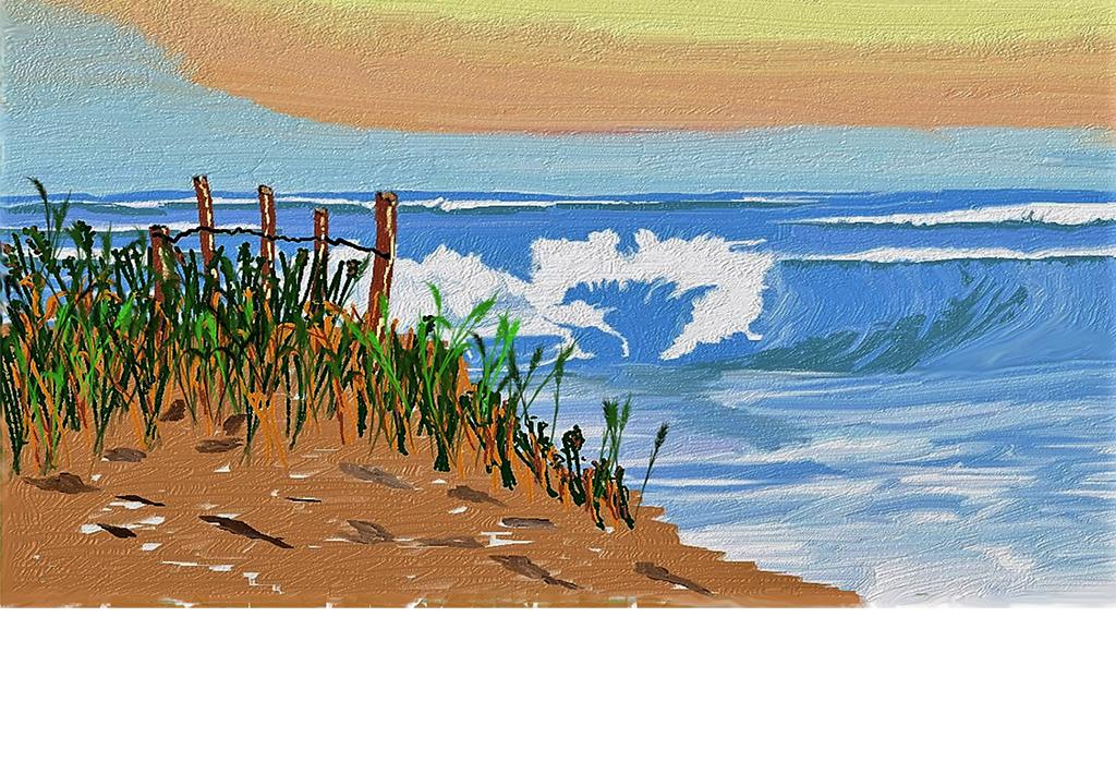 手绘油画地中海