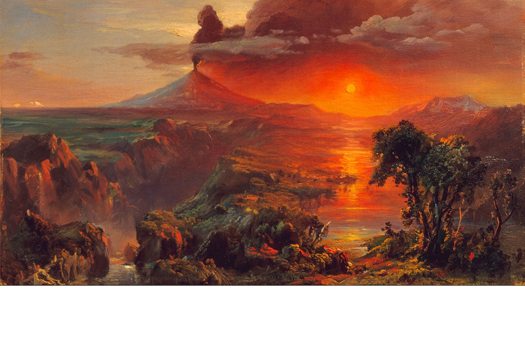 手绘火山复古侏罗纪
