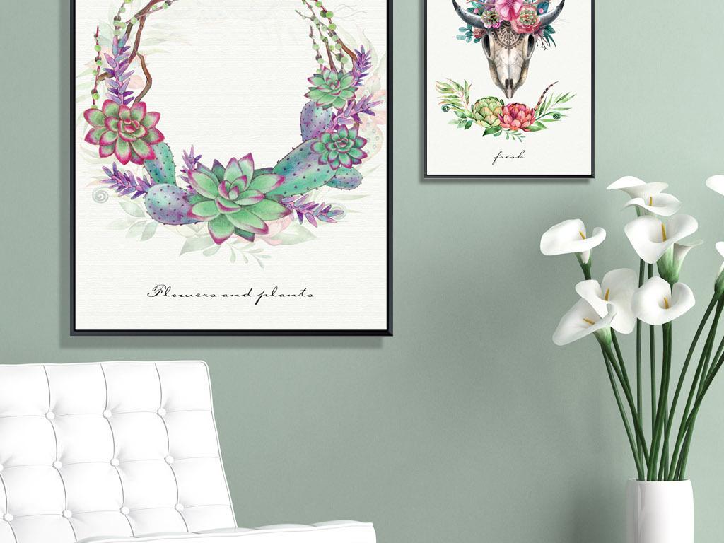 北欧清新手绘麋鹿鹿头花卉组合装饰画三联