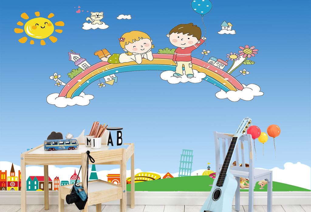 儿童房背景墙卡通背景彩虹背景图片设计素材_高清psd图片