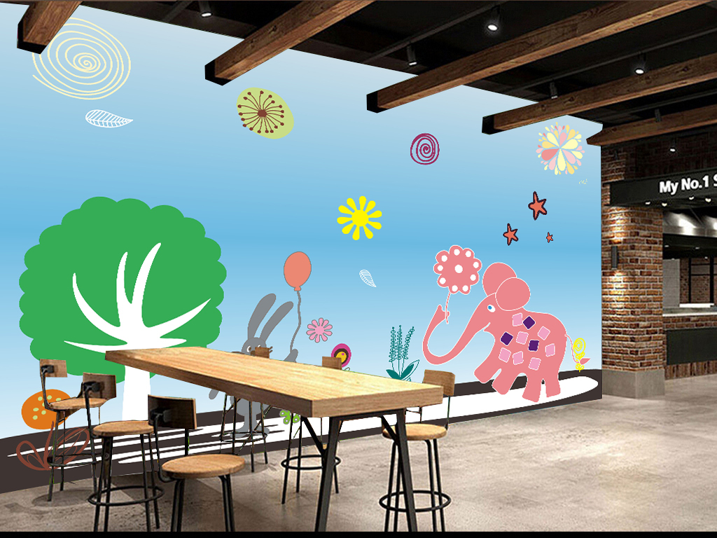 手绘墙儿童房背景墙幼儿园背景墙卡通