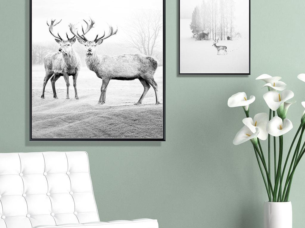 背景墙|装饰画 无框画 动物图案无框画 > 北欧简约森林麋鹿黑白装饰画