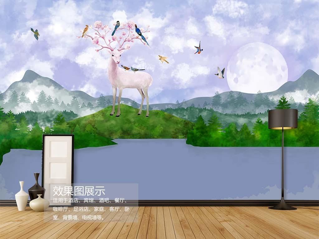 鹿鸟山水电脑手绘背景图