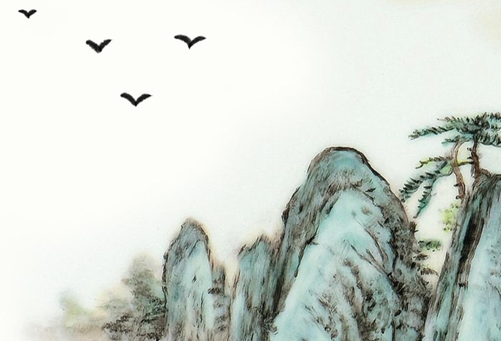 新中式水墨山水意境唯美风格无框画装饰画图片