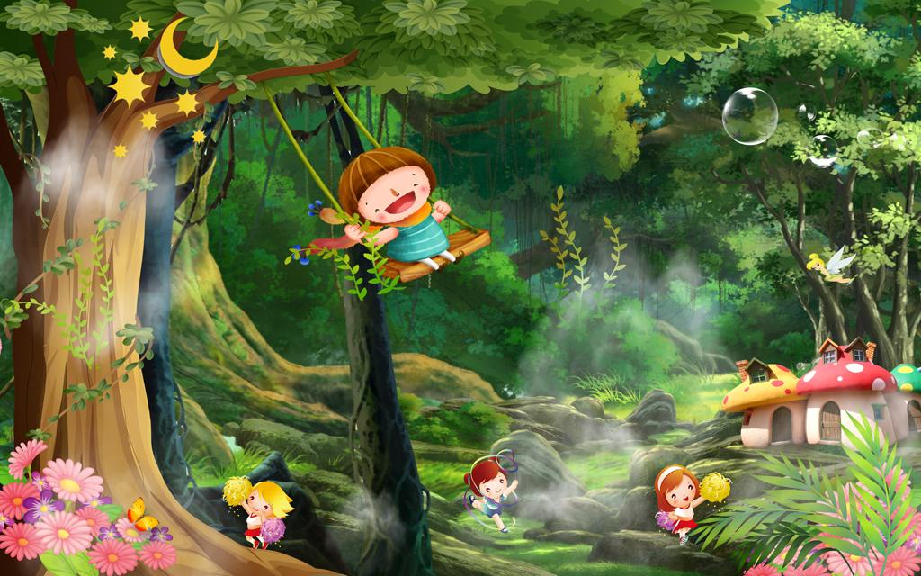 梦幻森林梦幻树林唯美儿童房小孩房壁画
