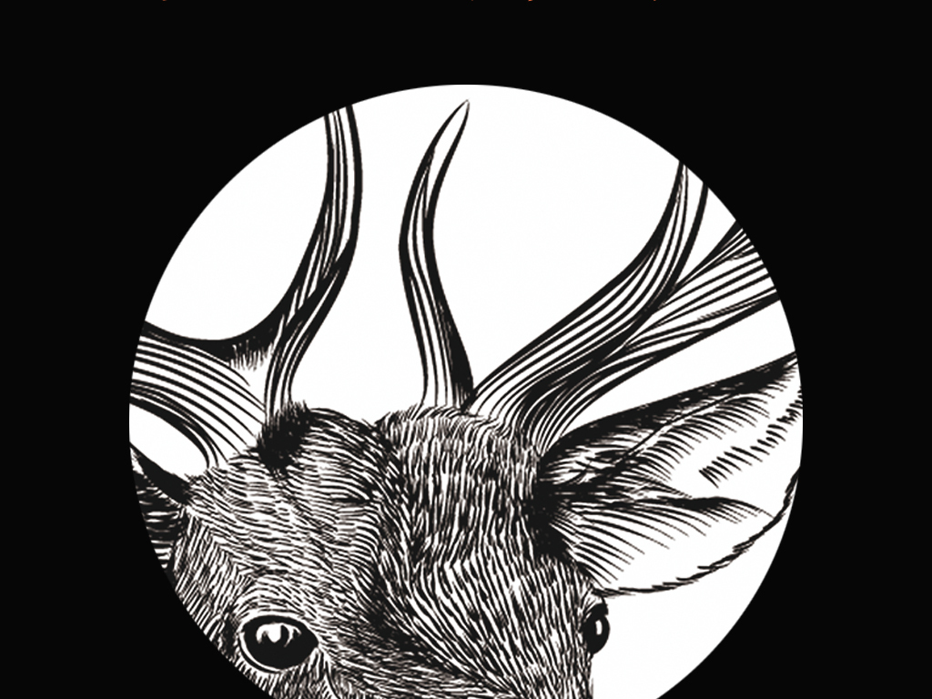 北欧简约插画手绘麋鹿黑白装饰画三联无框画