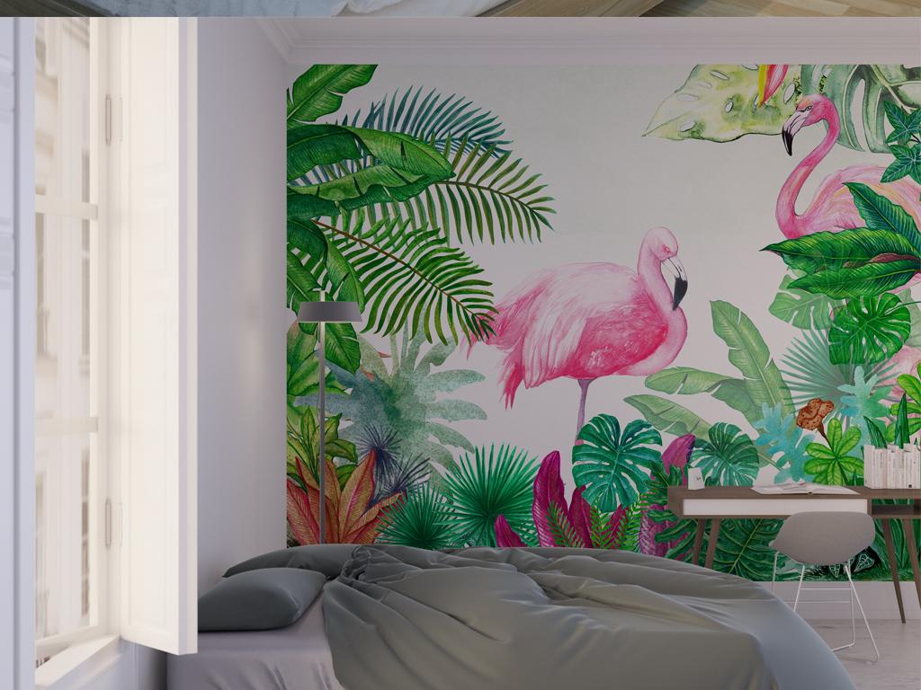 热带森林公园风景火烈鸟绿植龟背竹背景墙图片