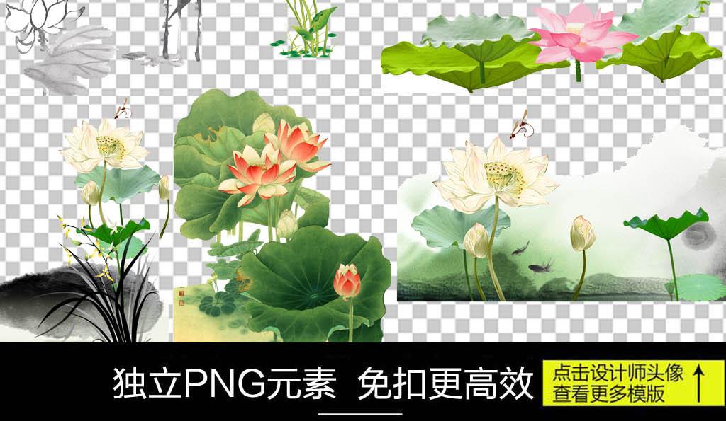 中国风水墨荷花png透明背景素材