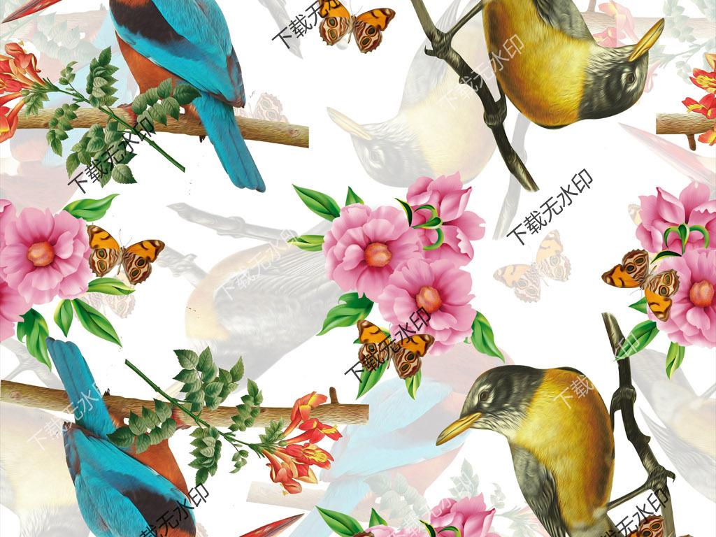 手绘花鸟图案数码印花设计服装面料花型
