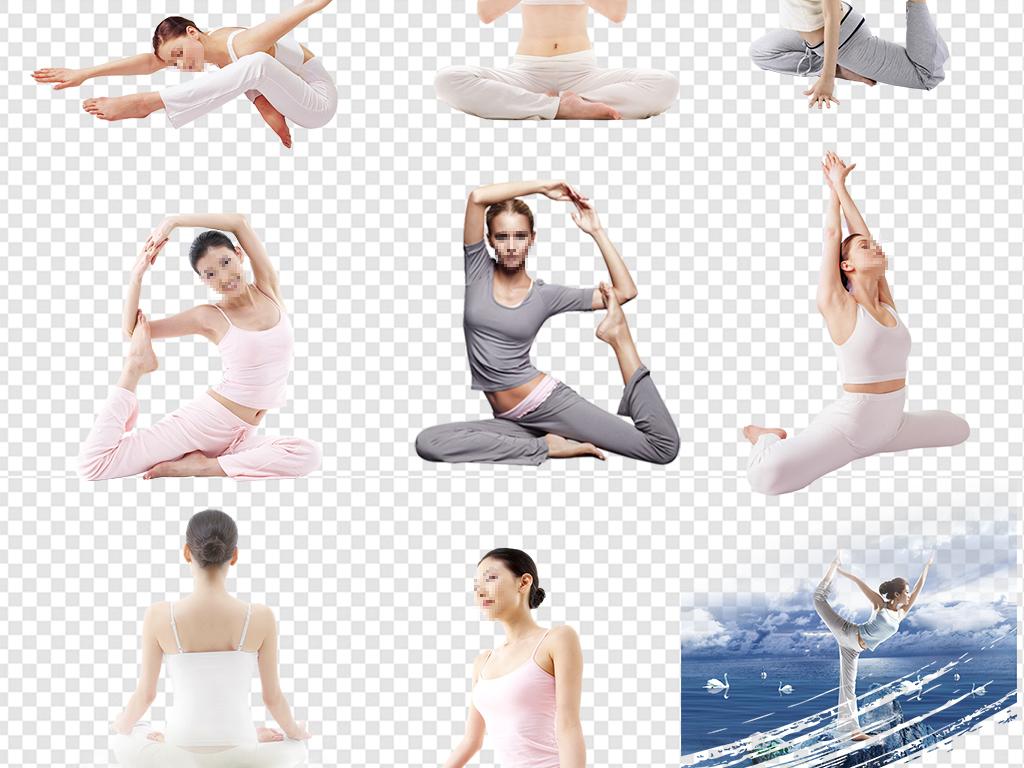 瑜伽健身瑜伽美女人物剪影图片素材