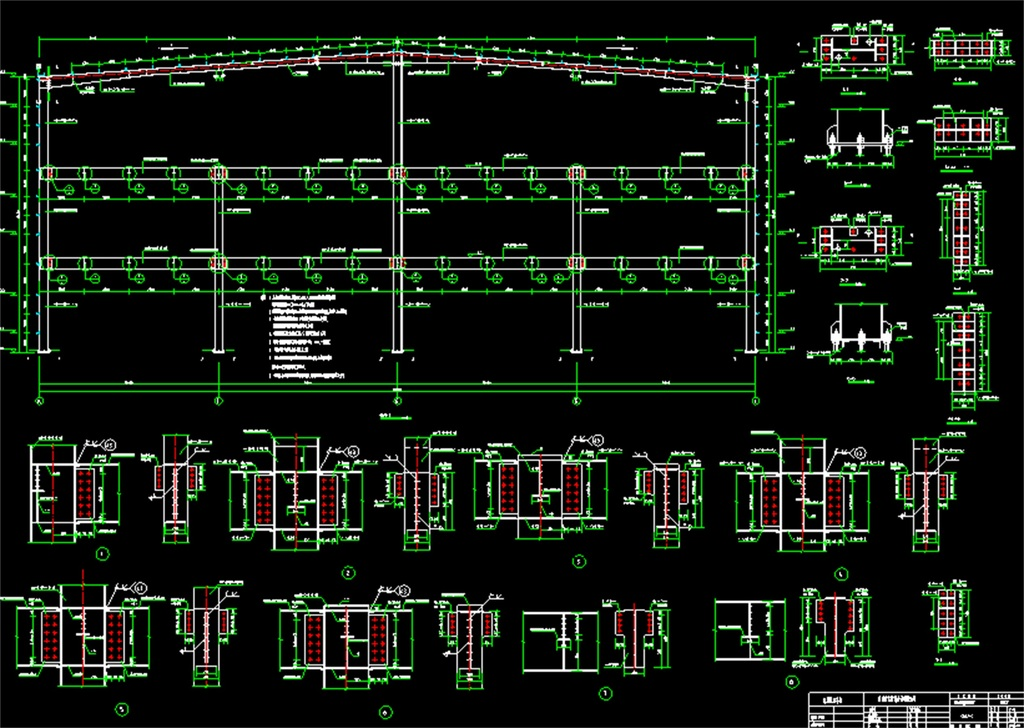 钢结构机械厂房cad设计图平面图_dwg施工图下载(2.8)