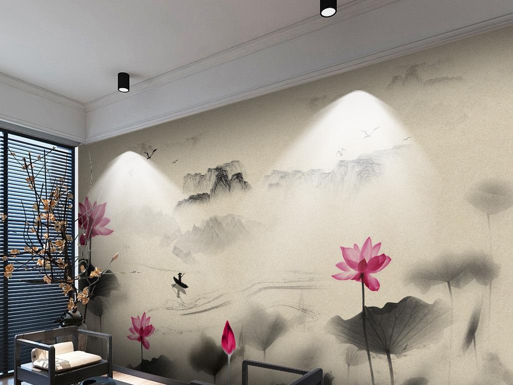 荷花水墨大气新中式中国风国画沙发背景墙图片