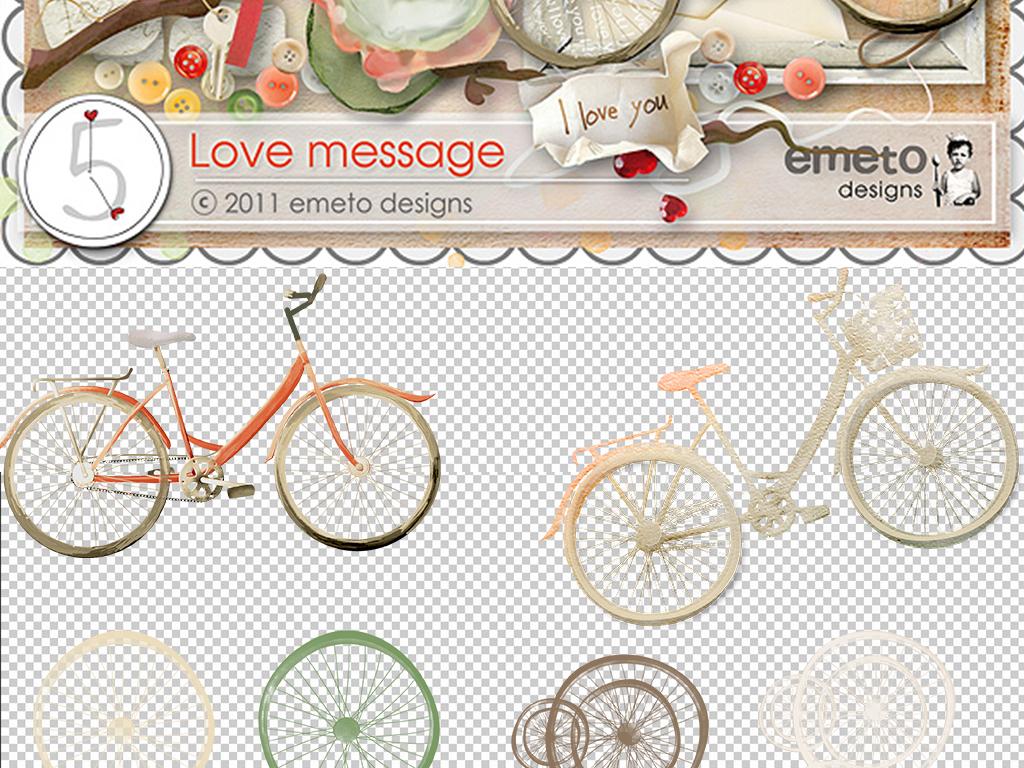 手绘墙素材水彩免抠自行车清新淡雅淡雅剪贴淡雅清新清新水彩手绘背景