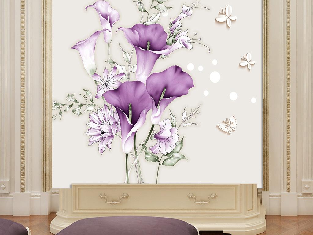 手绘简约花3d立体花卉玄关背景墙