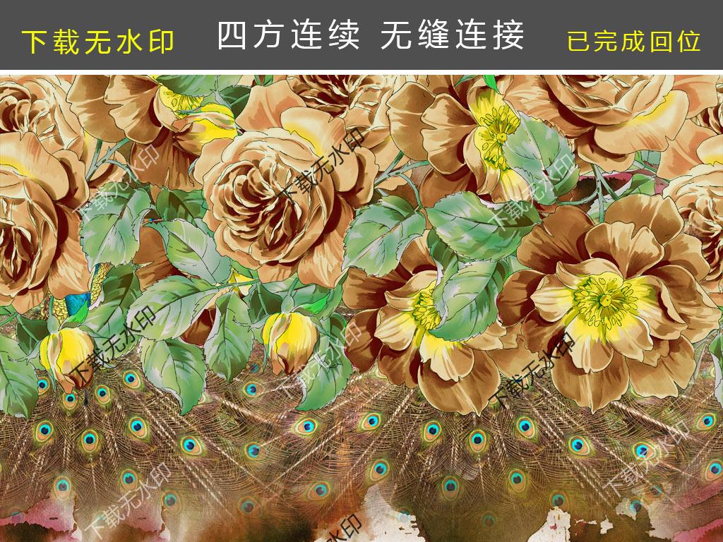 手绘花卉孔雀羽毛欧式油画图案数码印花花型