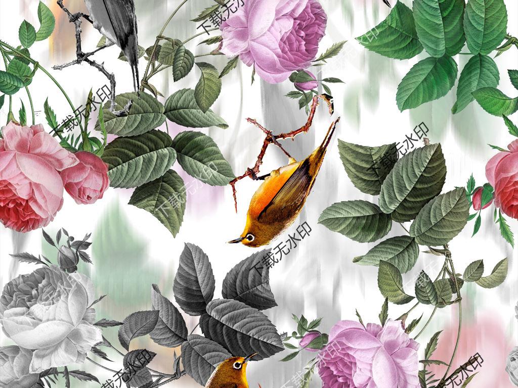 手绘玫瑰喜鹊拼图数码印花服装花型面料设计