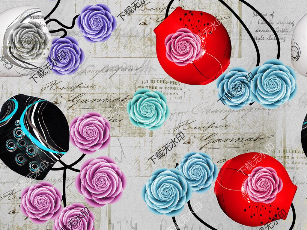 手绘玫瑰花图案数码印花服装面料花型设计