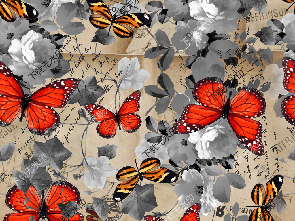 手绘花卉蝴蝶图案数码印花服装面料花型设计