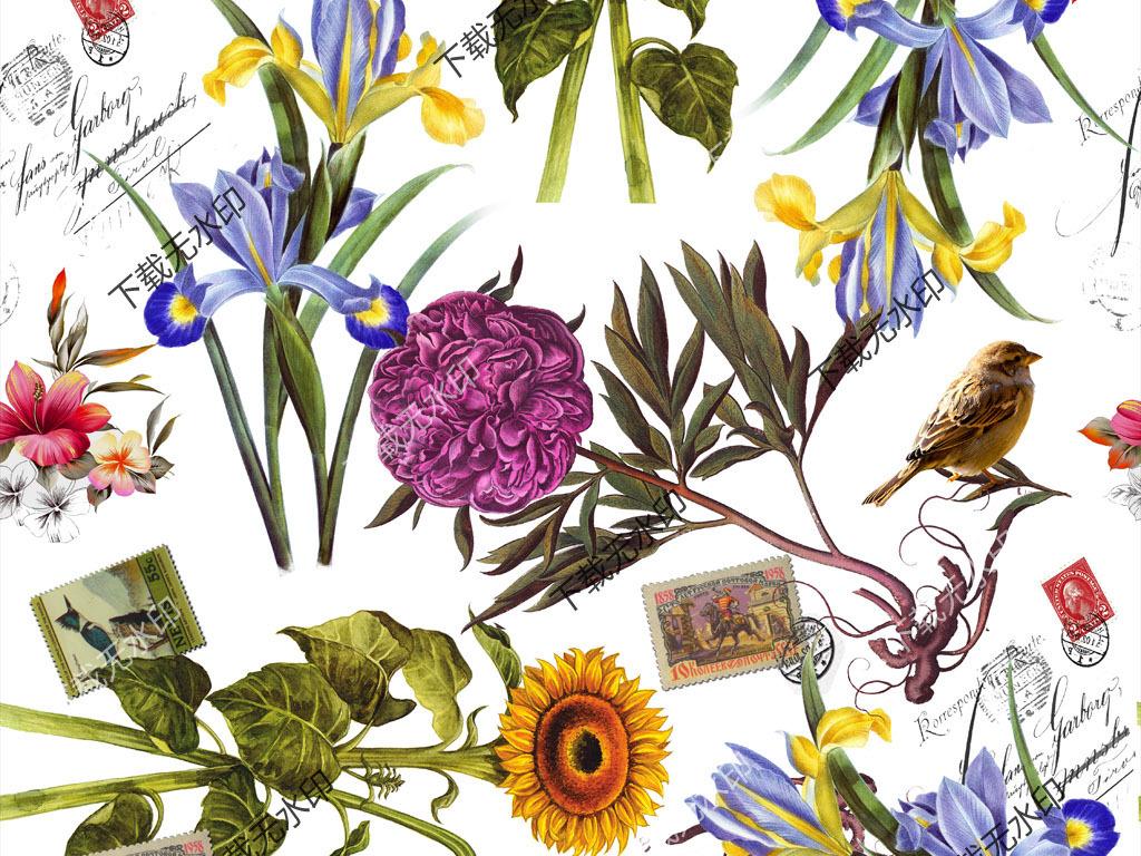 手绘花卉邮票图案数码印花服装面料花型设计