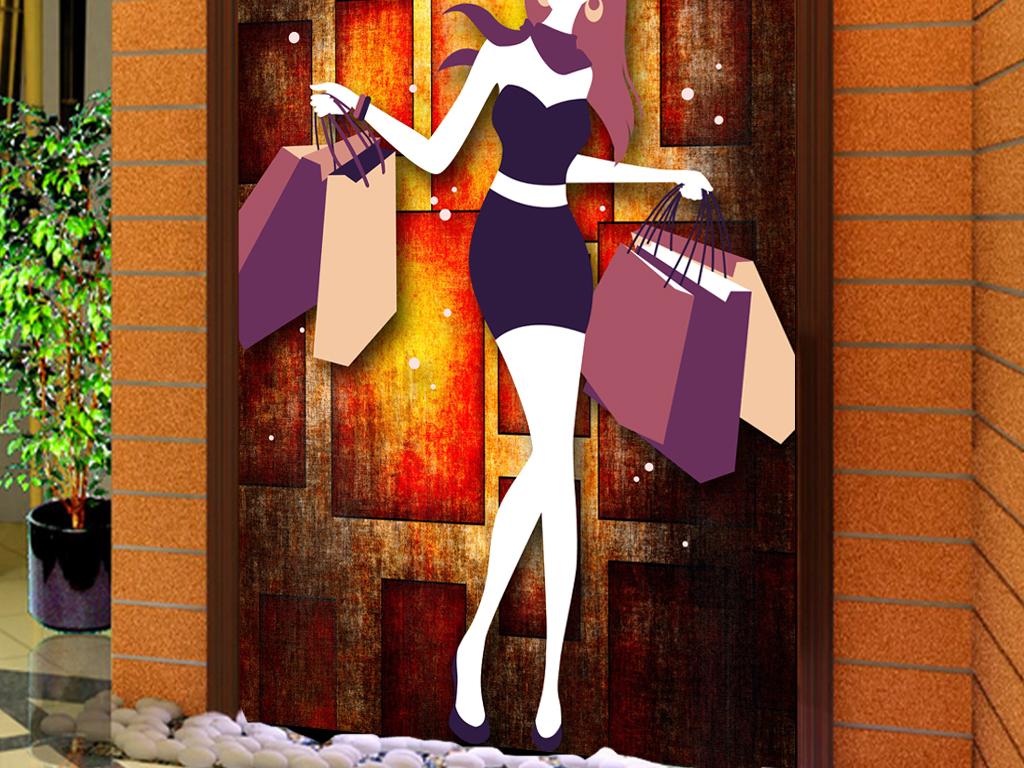 复古怀旧服装店手绘人物商场工装玄关