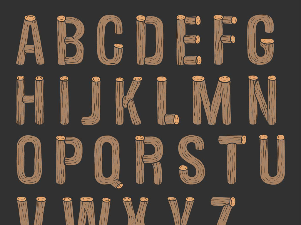 手绘木头创意英文字母矢量素材