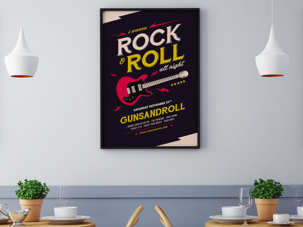 ai+psd时尚简约手绘摇滚乐派对创意海报