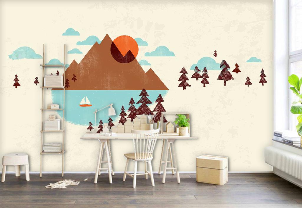 背景墙 电视背景墙 现代简约电视背景墙 > 手绘北欧现代简约抽象几何