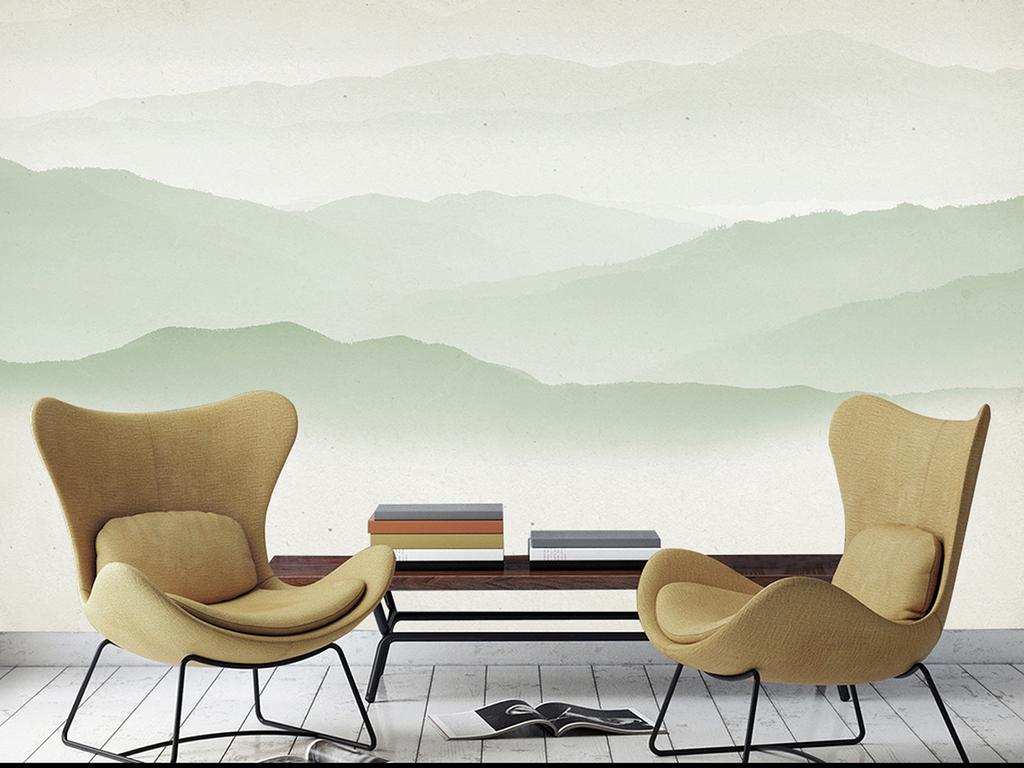 素雅黑白素色四屏条无框画屋檐古建筑壁画水墨装饰卧室装饰水墨中式图片