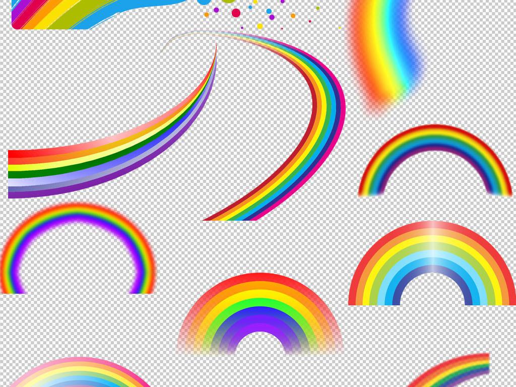 卡通手绘七彩彩虹云朵png背景素材图片