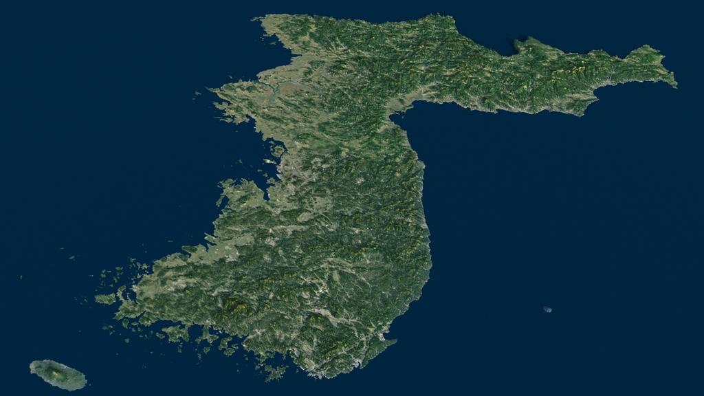 韩国3d地形模型韩国地图3d地形模型3d打印模型朝鲜半岛3d电子沙盘模型