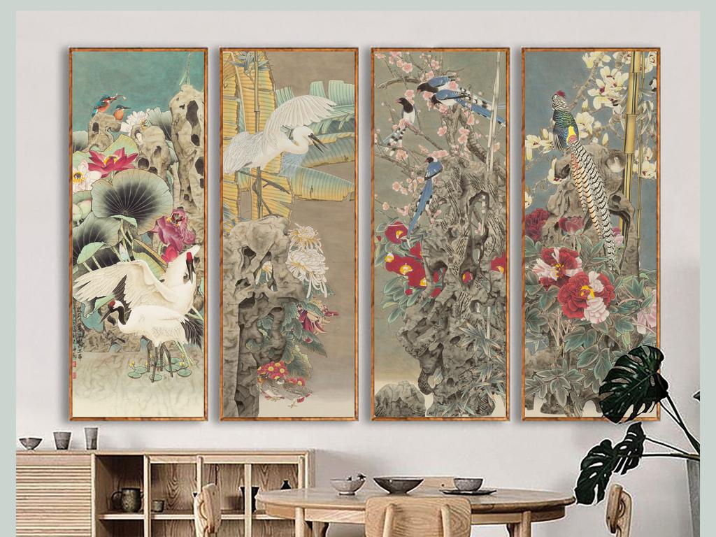 宫廷背景中式春夏秋冬手绘花鸟图