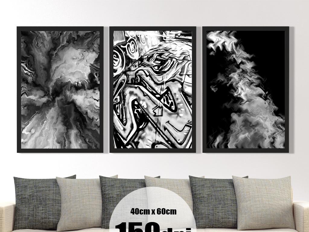 黑白艺术抽象画装饰画模板