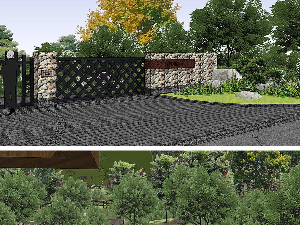 山地跌水公园规划设计su模型图片