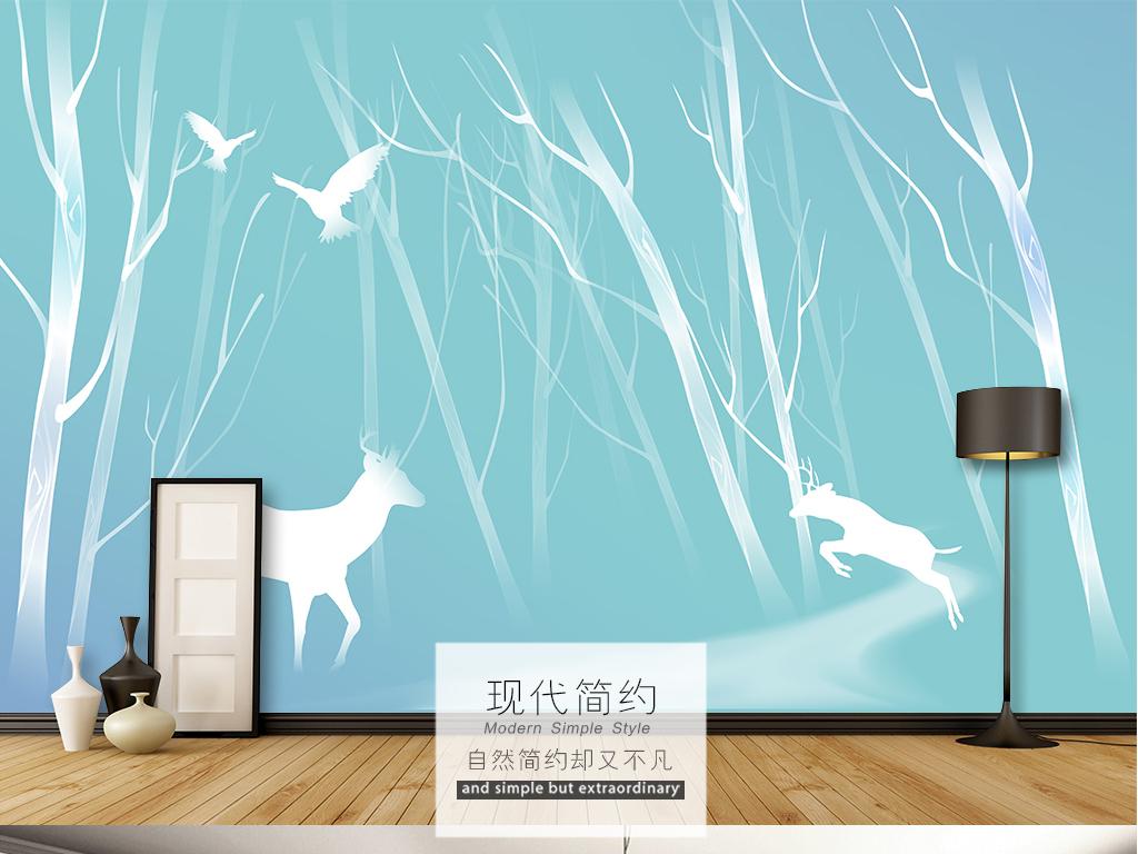现代简约小鹿森林飞鸟电视背景墙壁画图片