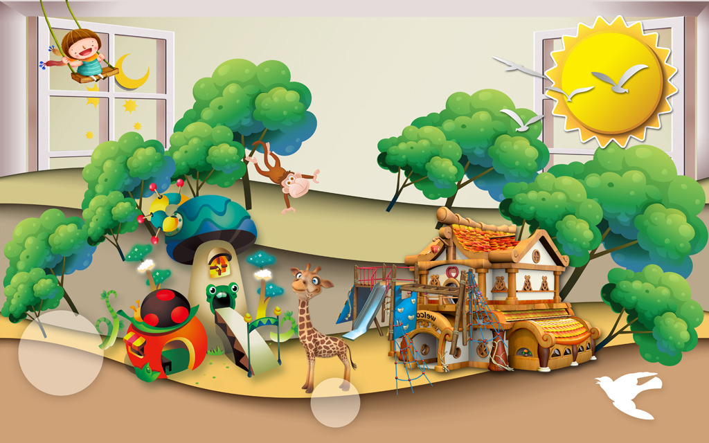 3d窗外风景卡通儿童房小孩房背景墙壁画