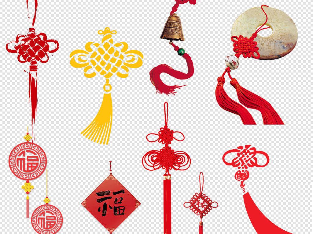 卡通手绘红色中国结装饰设计元素
