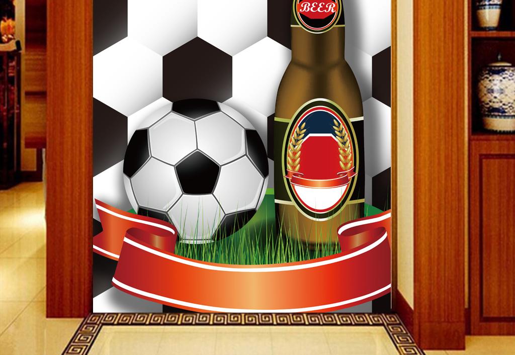 手绘高清足球世界杯啤酒广场工装玄关
