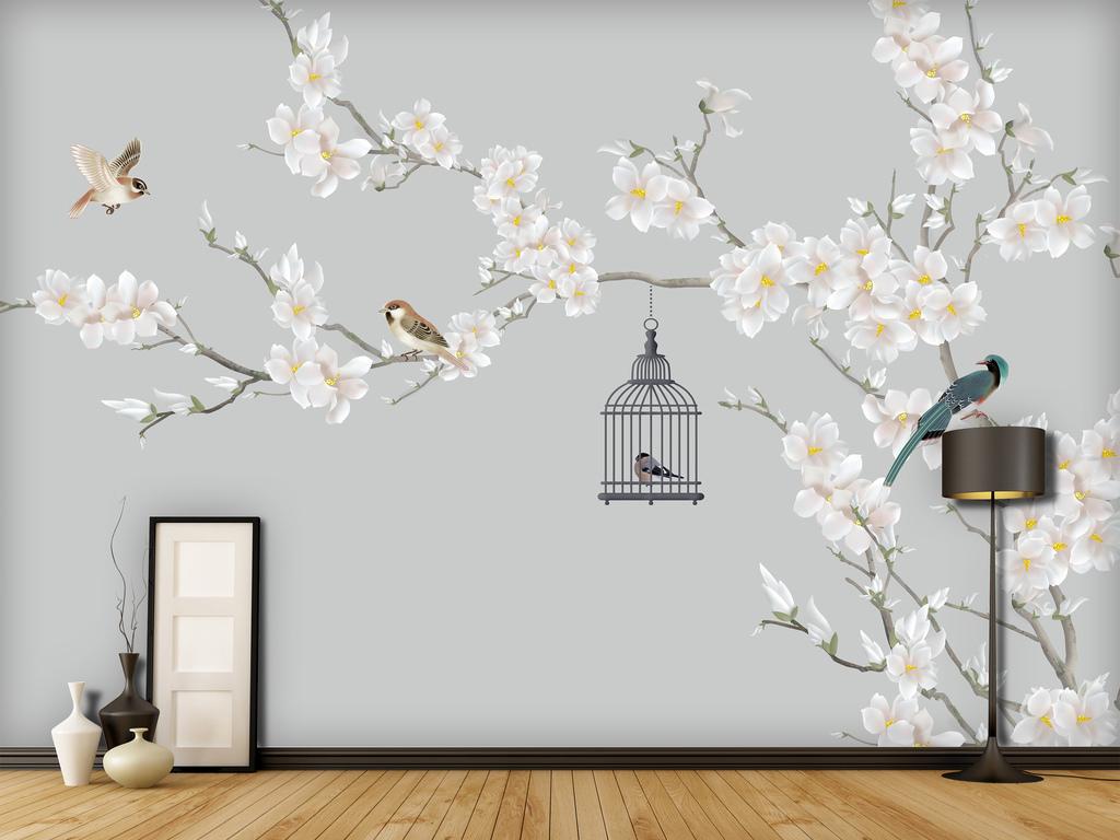 素色玉兰中式手绘花鸟工笔鸟笼背景墙装饰画
