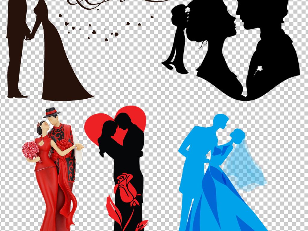 动漫人物 > 手绘卡通情侣新郎新娘婚礼剪影海报素材