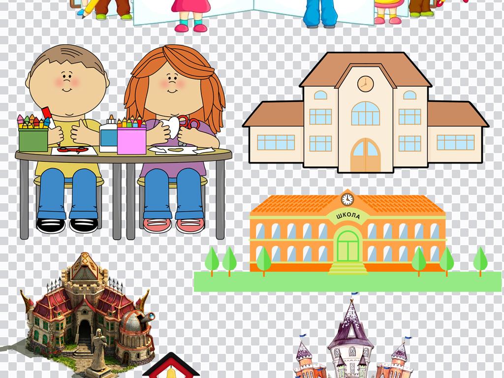 小小学堂校园生活系列png免抠设计素材