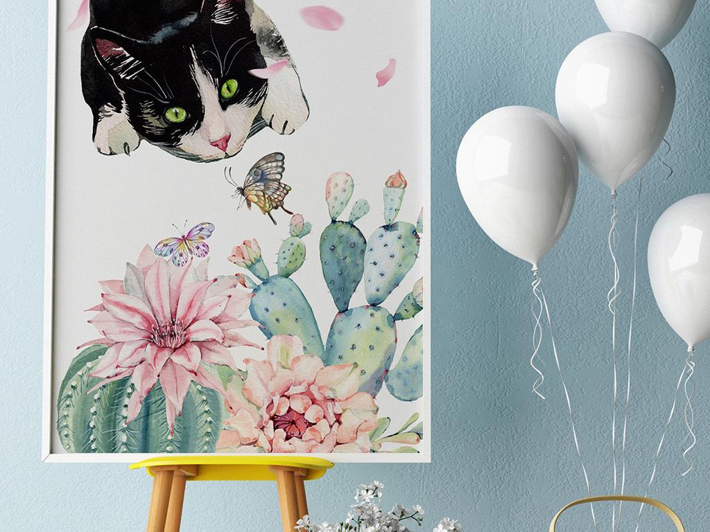 日系清新可爱小猫仙人掌手绘水彩装饰挂画