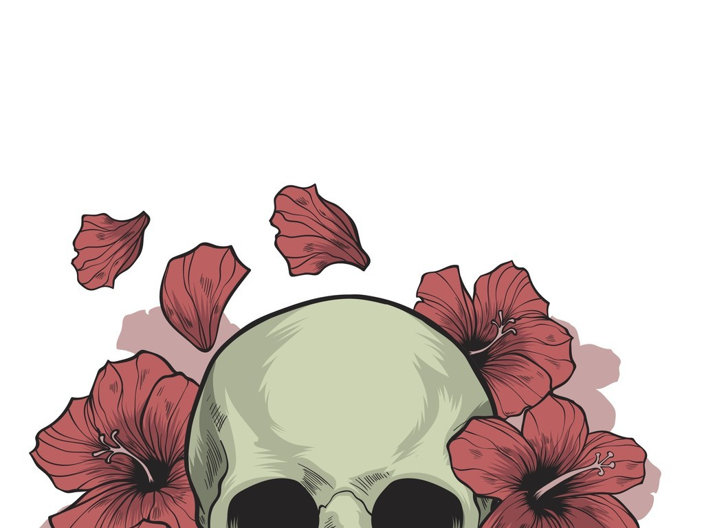 平面|广告设计 其他 插画|元素|卡通 > 手绘恐怖骷髅头插画  版权图片