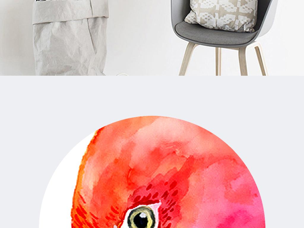 水彩火烈鸟北欧手绘欧式无框画装饰画