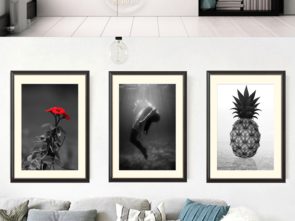 北欧简约黑白人物菠萝大海风景装饰画